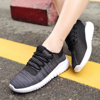 High quality fashion fly weave breathable Women sports shoesrunning shoes casual sneakers(black) - intl