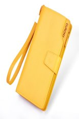 High Quality Genuine Leather Lady Women Purse Clutch Wallet Long Card Holder Bag (Yellow)