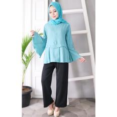 Hijab Dafa Baju Atasan Muslim Wanita Model Peplum Bahan Premium - Tosca