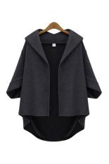 HKS Women Casual Loose Coat Batwing Sleeve Dark Grey (Intl)