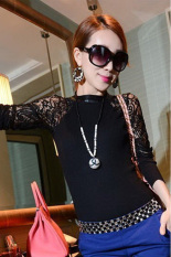HKS Womens Slim Fit Blouse Long Sleeve Lace Patchwork Black (Intl)