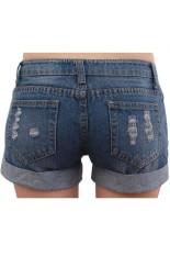 Hollow Hole Jeans Denim Flange Short Pants Dark Blue
