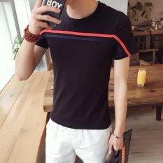 Horizontal stripes printing short sleeve T-shirt man fertilizer plus-size half sleeve top Japanese youth men's wear - intl