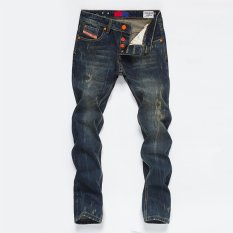 HOT SALE Mens Korean Slim Straight-Leg Jeans Trousers Casual Jean Pants Skinny (Blue) (Intl)