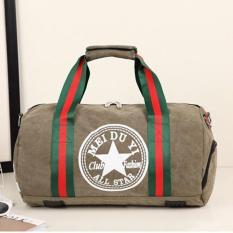 Hot Sales Female Portable Gym Bag Large Capability Stars Pattern Cylinder Bags Practical Travelling Bag Outdoor Sports Shoulder Bags Tote Bag (Khaki Medium) - Intl