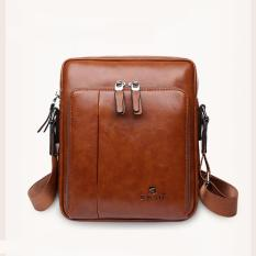 Hot Sales Men's PU Leather Shoulder Bag Fashionable Business Bag Practical Leisure Crossbody Bags(Small Tan) - intl