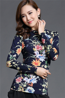 Hotyv Korean Elegant Long Sleeve Floral Pattern Mesh Casual T-shirt HTS023 Blue