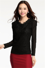 Hotyv Korean Fashion Long Sleeve V Neck Stretch Embroidery Lace T-shirt HTS013 Black