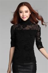Hotyv Korean Long Sleeve Floral Pattern Mesh Turtleneck T-shirt HTS008 Black (Intl)