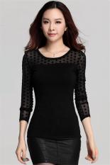 Hotyv Korean Long Sleeve Polka Dot Perspective Mesh Patchwork T-shirt HTS006 Black (Intl)