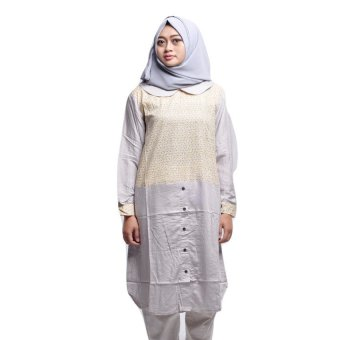 House of Shaqina Tunik Twotone - Abu-abu