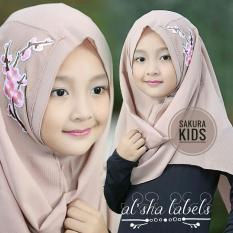 HQo Kerudung Hijab Jilbab Pashmina Instan Anak Sakura - Coklat Susu