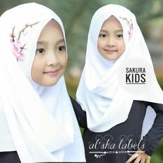 HQo Kerudung Hijab Jilbab Pashmina Instan Anak Sakura - Putih