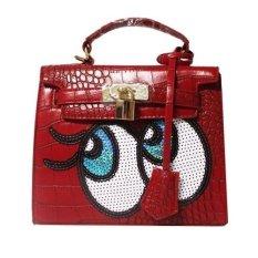 Ilife Crocodile Women Big Bag Small Women Leather Handbags Sweet Women Clutch Lock Women Messenger Bags Sequins Red