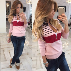 Imixlot Woman Stitching Striped Casual Fashion Zipper Jacket (Pink)