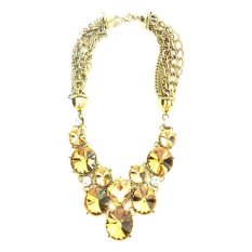 Istana Accessories Round Crystal Chain Fashion Necklace - Kuning (Not Defined)