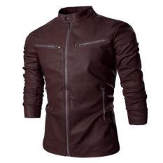 Jaket Kulit - Black Bikers Style Jacket - Coklat