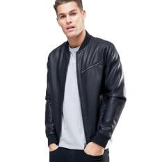 Jaket Kulit - Leather Bikers Jacket Style - Hitam