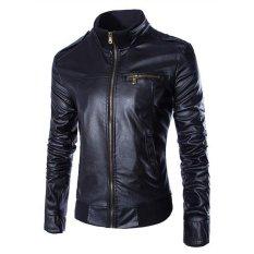 Jaket Kulit - Leather Jacket Biker Style - Hitam