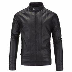 Jaket Pria - Leather Jacket Trend Rider - Hitam