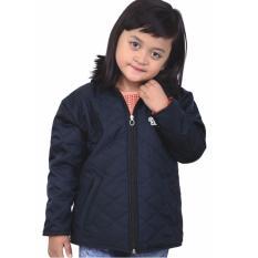 Jaket Sweater Anak Perempuan Catenzo Junior CCR 174 Biru Navy Micro