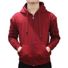 Jaket Sweater Polos Hoodie Zipper Maroon-Unisex