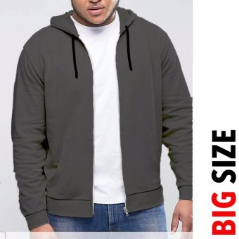 Jfashion Big Size Jaket Hoodie With Zipper - Vin Abu tua