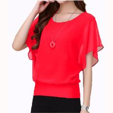 Jfashion Blus Chiffon Gaya Korea Tanpa Lengan Model Wing