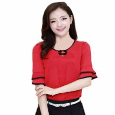 Jfashion Blus Fashion Korean Style With Bross - Merah