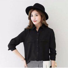 Jfashion Korean Style Plain Shirt Long SLeeve - Ummi Hitam
