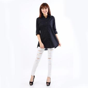 Jfashion Korean Style Shirt With Back tie Long sleeve - Dewi Hitam