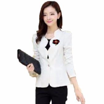 Jfashion Korean Style Women Blazer With Bross Long SLeeve - Linda Putih