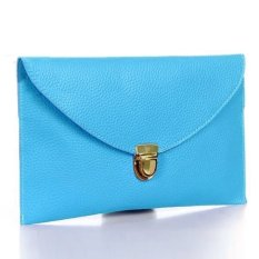CatWalk New Fashion Women's Golden Chain Envelope Purse Clutch Synthetic Leather Handbag Shoulder Bag Dinner Party (Blue) (Intl)