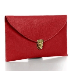CatWalk New Fashion Women's Golden Chain Envelope Purse Clutch Synthetic Leather Handbag Shoulder Bag Dinner Party (Red) (Intl)