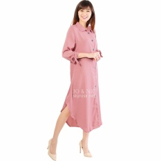 JO & NIC Ashley Dress Hijab Tunik Wanita Lengan Pita AllSize - Pink