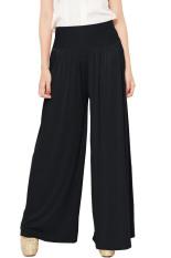 JO & NIC Celana Wanita Kulot Allsize Pleated Long Culotte Pants - Fit to Big Size - Black