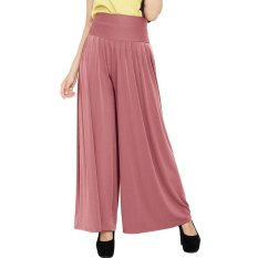 JO & NIC Celana Wanita Kulot Allsize Pleated Long Culotte Pants - Fit to Big Size - DustyPink