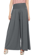 JO & NIC Celana Wanita Kulot Allsize Pleated Long Culotte Pants - Fit to Big Size - Grey