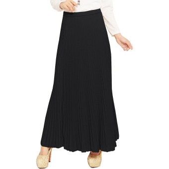 JO & NIC Pleated Long Skirts - Rok Panjang Lipit Fit to XL - Black