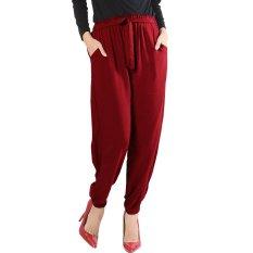 JO & NIC Raissa Comfy Jogger Pants - Katun Rayon - Red