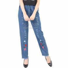 JO & NIC Rosey Embro Celana Wanita Ripped Soft Jeans Wanita - Blue