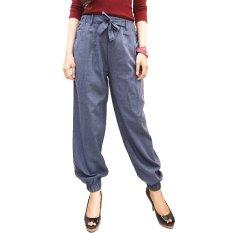 JO & NIC Sweet Tie Jogger Pants - Celana Wanita - DarkBlue