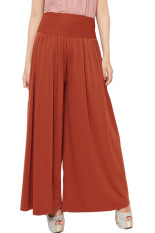 JO & NIC Pleated Long Culotte Pants - Celana Kulot - Fit To Big Size - Brick