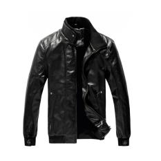 GE British Men's Stand-Collar Zipper Long Sleeve Coat Jacket (Black)