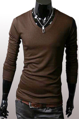 GE Men Slim Fit Solid Color Stylish V Neck Long Sleeve T-shirts Tee Tops M / L / XL / XXL (Collee)
