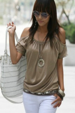 GE New Fashion Women Sexy Casual Round Neck Off Shoulder Short Sleeve Solid T-Shirt M-L Khaki ()