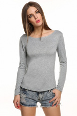 GE New Sexy Women Ladies Sexy Long Sleeve Backless Lace Decor Slim Casual Tops Blouse S-L (Grey) (Intl)