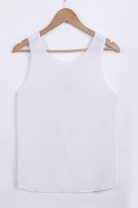 GE New Women's Fashion Lady Summer Blouse Chiffon Casual Shirts Sexy Back Strap Tops Vest T-shirt M-XXL (White)