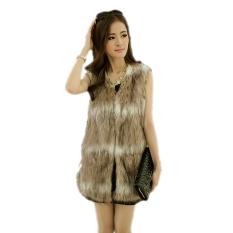 Jo.In Winter New Fashion Women's Faux Fur Sleeveless Open Stitch Long Vest - Intl