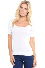 GE Women Ladies Fashion Casual Slim O Neck Short Puff Sleeve Plain Stretch Solid T Shirt Tops S-XL (White)